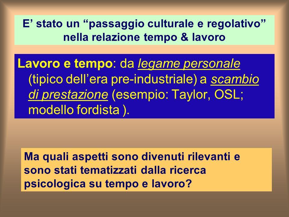 E stato un passaggio culturale e regolativo nella relazione tempo & lavoro Lavoro e tempo: da legame personale (tipico dellera pre-industriale) a scambio di prestazione (esempio: Taylor, OSL; modello fordista ).