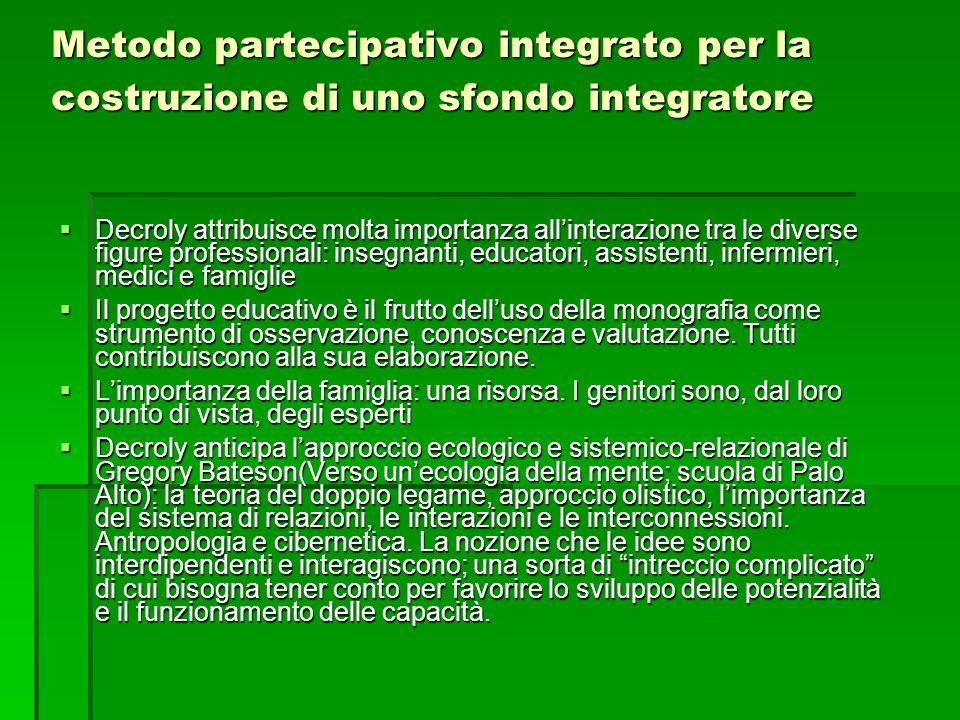 Metodo partecipativo integrato per la costruzione di uno sfondo integratore Decroly attribuisce molta importanza allinterazione tra le diverse figure