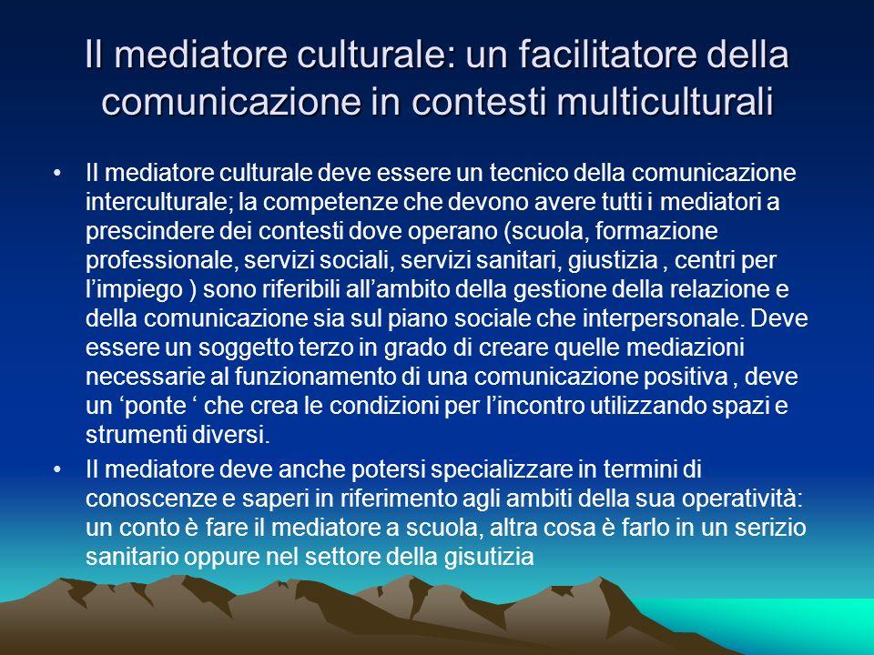 Il mediatore culturale: un facilitatore della comunicazione in contesti multiculturali Il mediatore culturale deve essere un tecnico della comunicazio