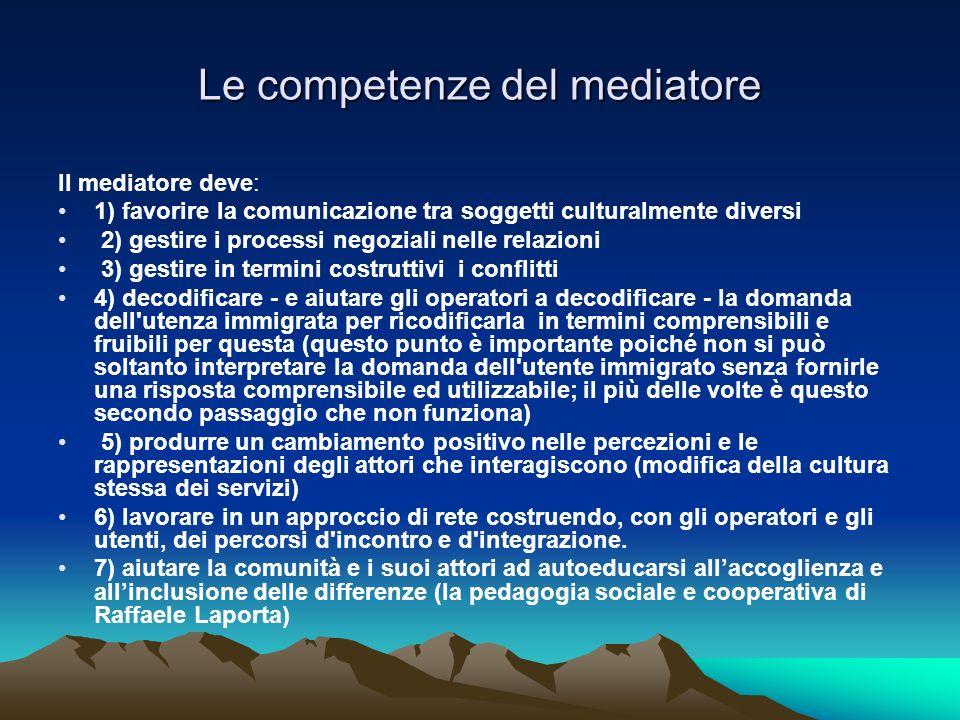 Le competenze del mediatore Il mediatore deve: 1) favorire la comunicazione tra soggetti culturalmente diversi 2) gestire i processi negoziali nelle r