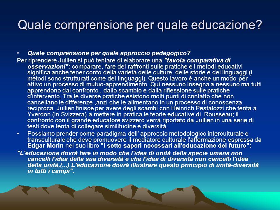 Quale comprensione per quale educazione? Quale comprensione per quale approccio pedagogico? Per riprendere Jullien si può tentare di elaborare una