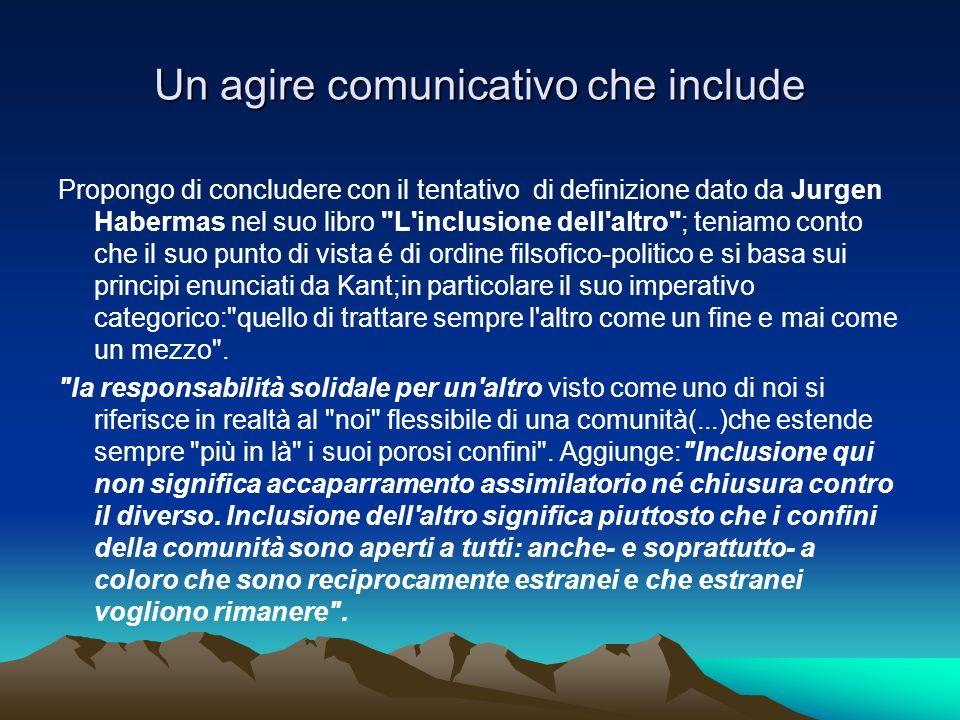 Un agire comunicativo che include Propongo di concludere con il tentativo di definizione dato da Jurgen Habermas nel suo libro