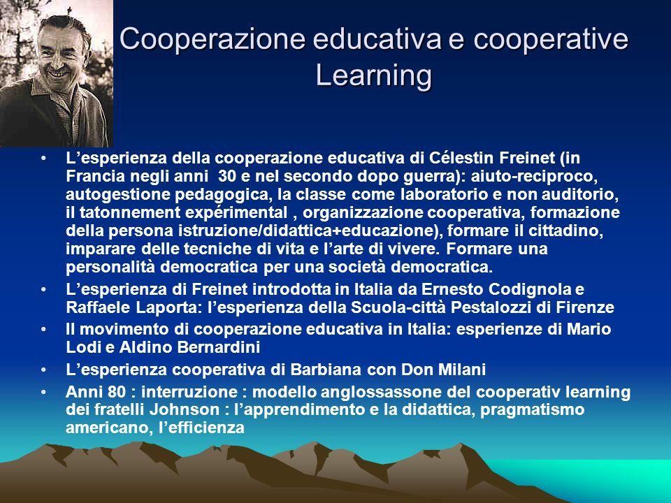 Cooperazione educativa e cooperative Learning Lesperienza della cooperazione educativa di Célestin Freinet (in Francia negli anni 30 e nel secondo dop