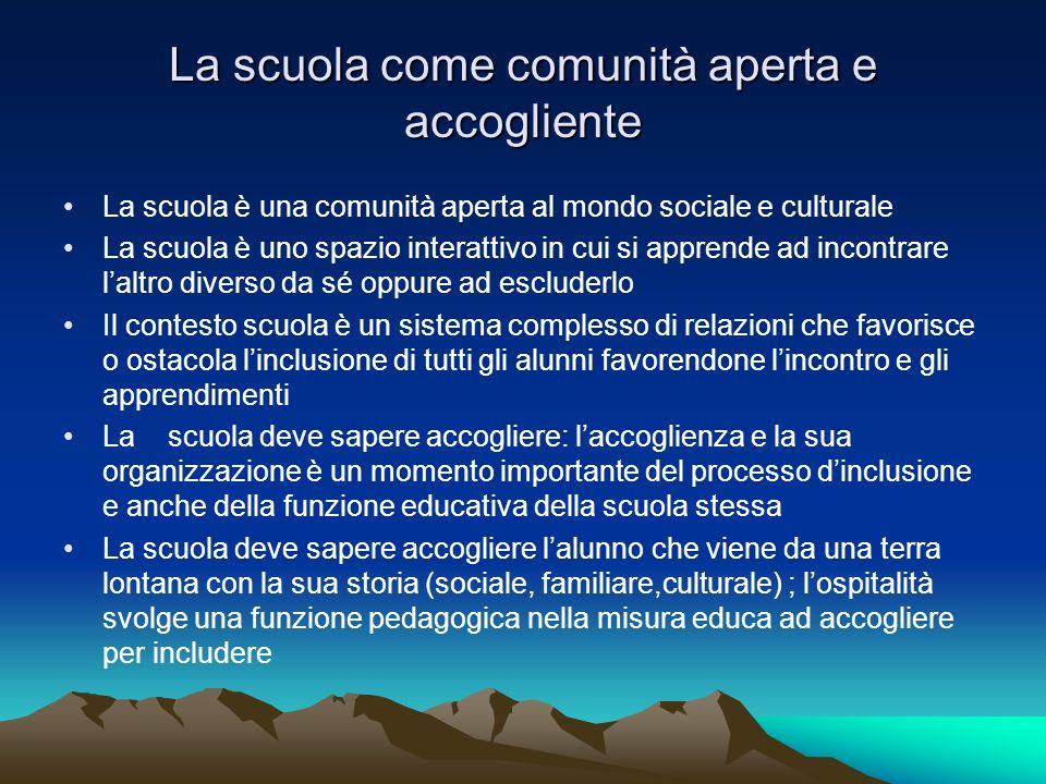 La scuola come comunità aperta e accogliente La scuola è una comunità aperta al mondo sociale e culturale La scuola è uno spazio interattivo in cui si