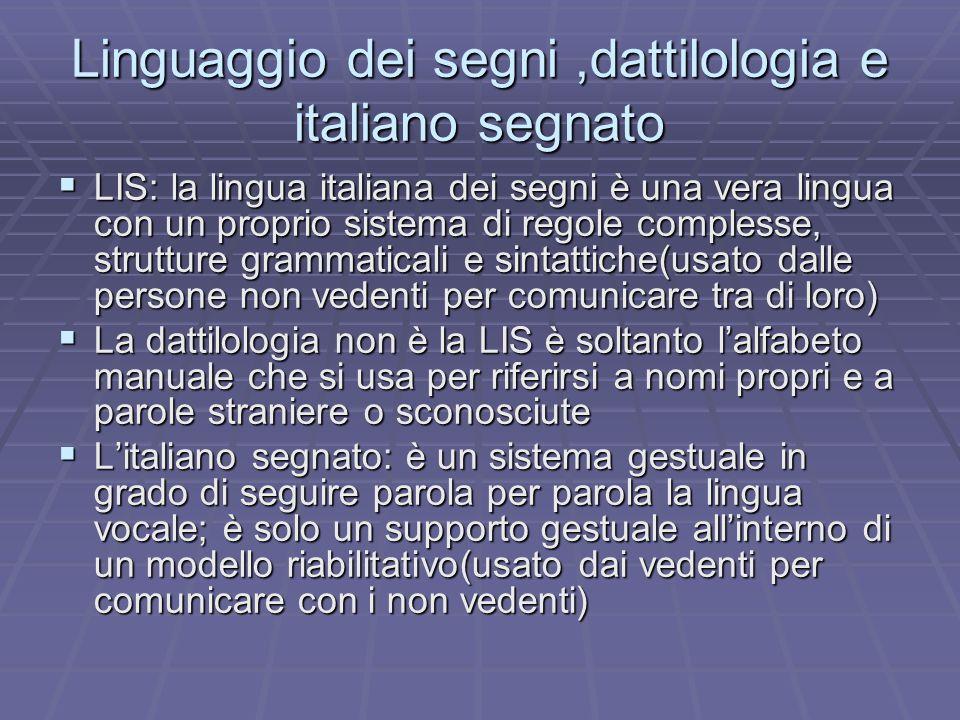 Linguaggio dei segni,dattilologia e italiano segnato LIS: la lingua italiana dei segni è una vera lingua con un proprio sistema di regole complesse, s