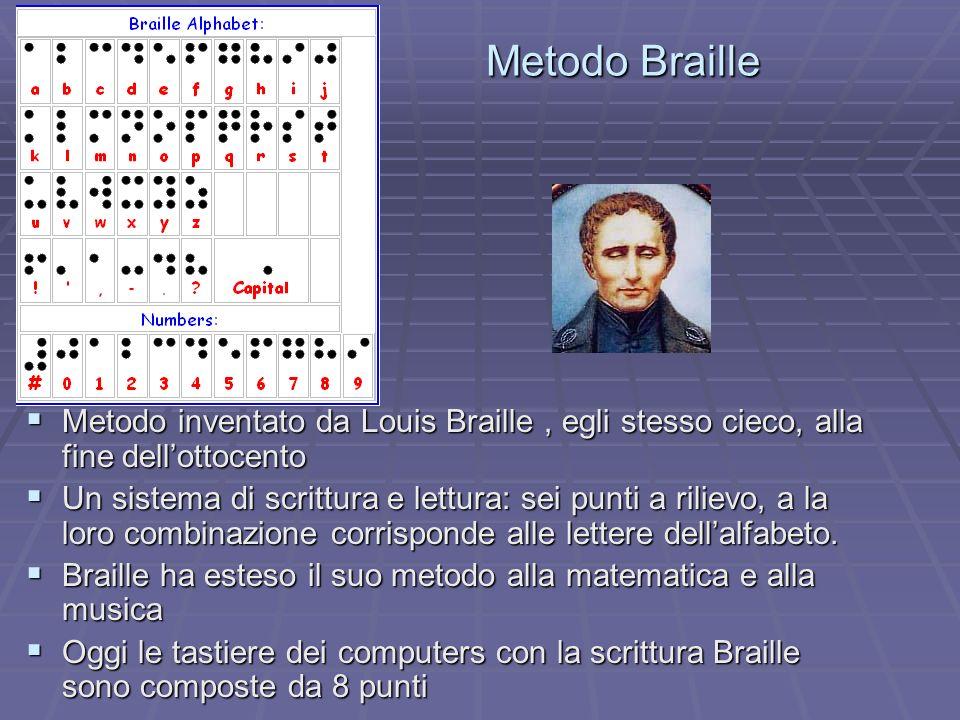 Metodo Braille Metodo inventato da Louis Braille, egli stesso cieco, alla fine dellottocento Metodo inventato da Louis Braille, egli stesso cieco, all