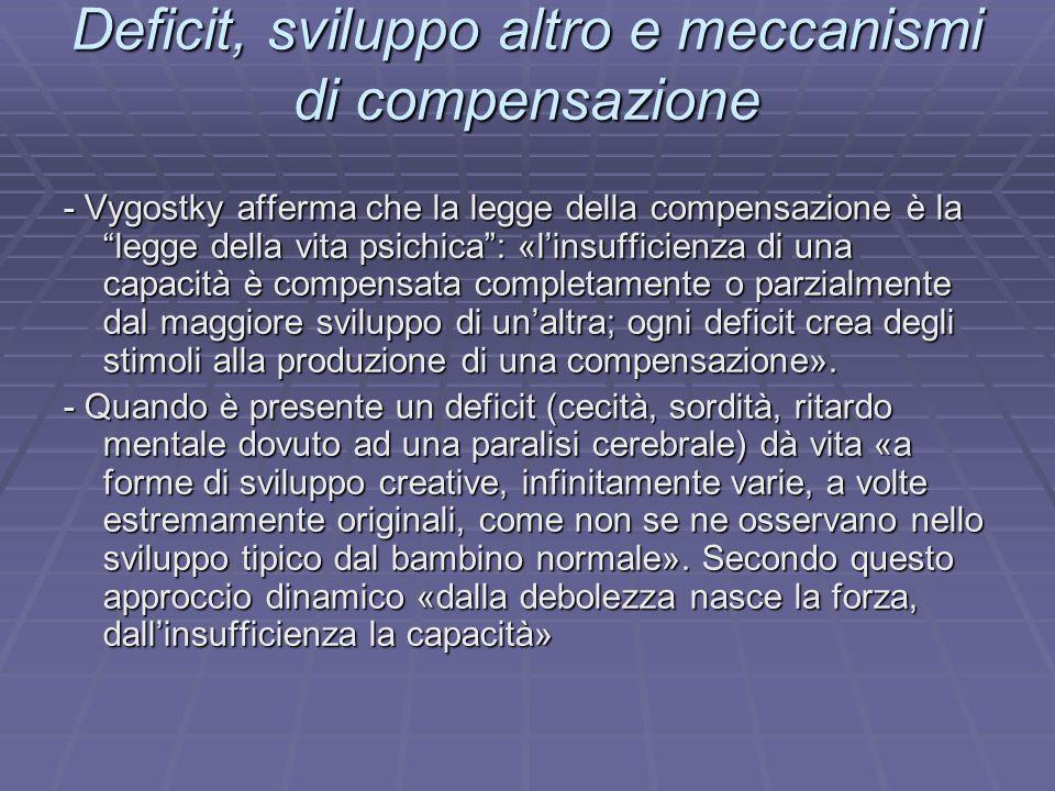 Deficit, sviluppo altro e meccanismi di compensazione - Vygostky afferma che la legge della compensazione è la legge della vita psichica: «linsufficie