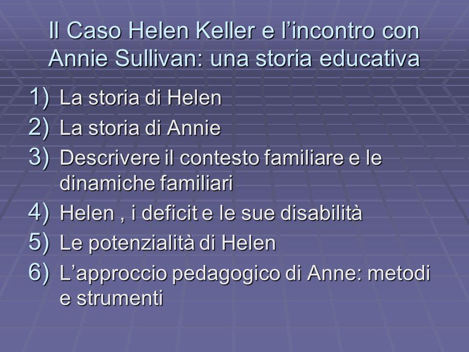 1) La storia di Helen 2) La storia di Annie 3) Descrivere il contesto familiare e le dinamiche familiari 4) Helen, i deficit e le sue disabilità 5) Le