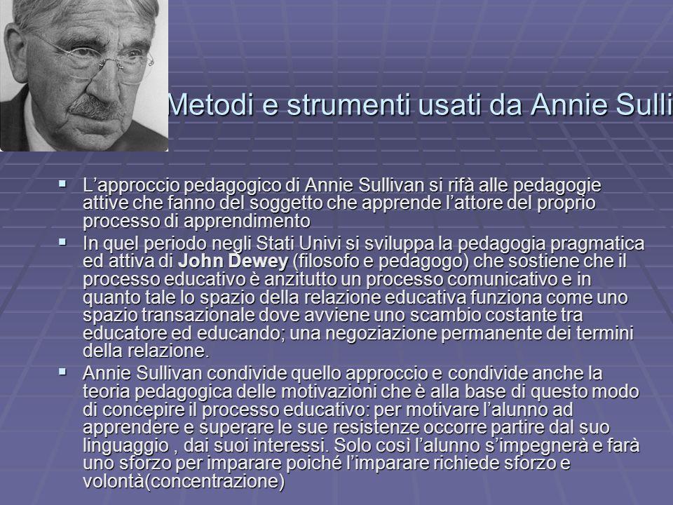 Metodi e strumenti usati da Annie Sullivan Lapproccio pedagogico di Annie Sullivan si rifà alle pedagogie attive che fanno del soggetto che apprende l
