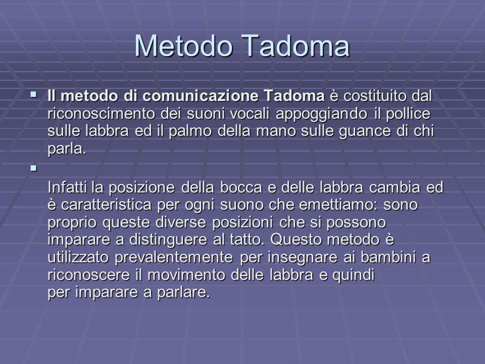 Metodo Tadoma Il metodo di comunicazione Tadoma è costituito dal riconoscimento dei suoni vocali appoggiando il pollice sulle labbra ed il palmo della