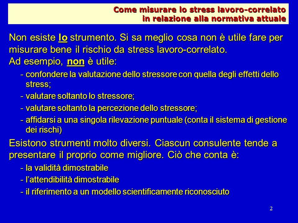 2 Non esiste lo strumento. Si sa meglio cosa non è utile fare per misurare bene il rischio da stress lavoro-correlato. Ad esempio, non è utile: -confo