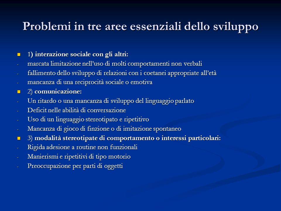 Problemi in tre aree essenziali dello sviluppo 1) interazione sociale con gli altri: 1) interazione sociale con gli altri: - marcata limitazione nellu
