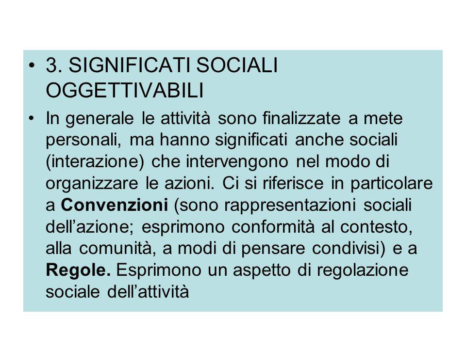 3. SIGNIFICATI SOCIALI OGGETTIVABILI In generale le attività sono finalizzate a mete personali, ma hanno significati anche sociali (interazione) che i
