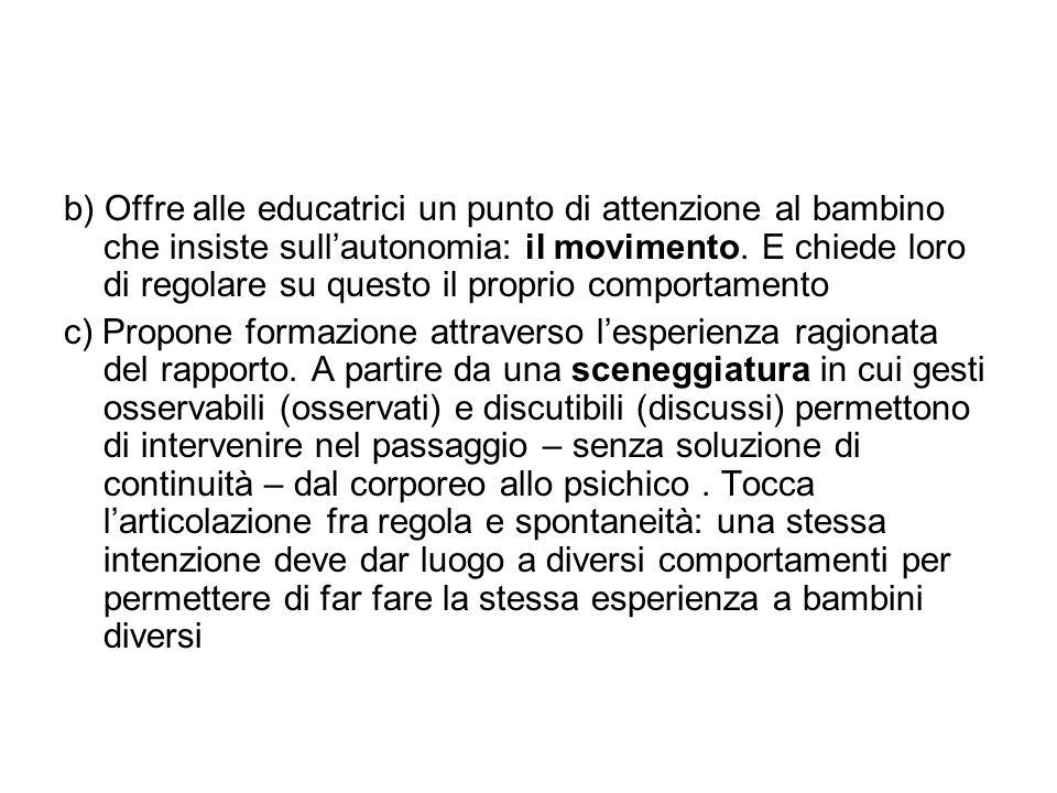 b) Offre alle educatrici un punto di attenzione al bambino che insiste sullautonomia: il movimento. E chiede loro di regolare su questo il proprio com