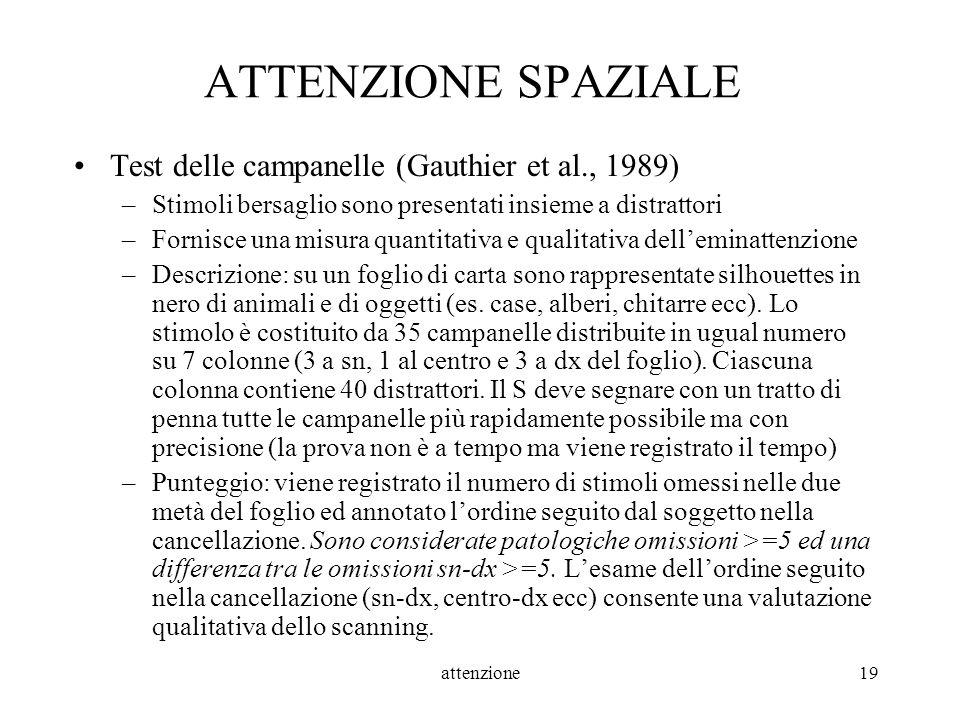attenzione19 ATTENZIONE SPAZIALE Test delle campanelle (Gauthier et al., 1989) –Stimoli bersaglio sono presentati insieme a distrattori –Fornisce una