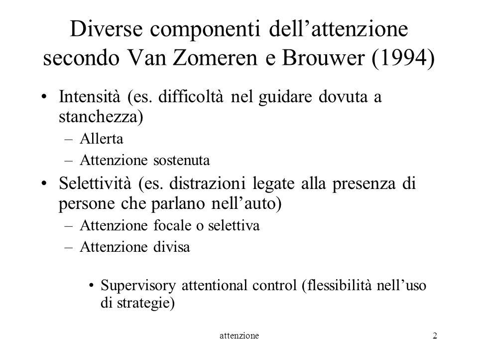 attenzione2 Diverse componenti dellattenzione secondo Van Zomeren e Brouwer (1994) Intensità (es. difficoltà nel guidare dovuta a stanchezza) –Allerta