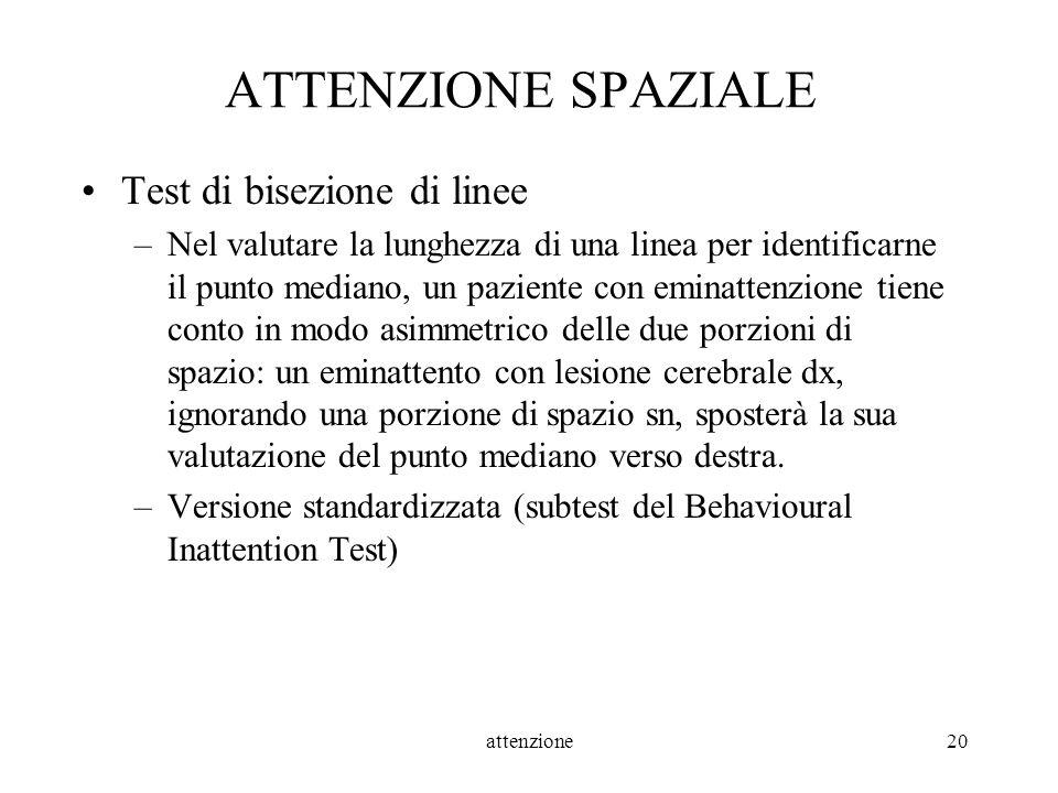 attenzione20 ATTENZIONE SPAZIALE Test di bisezione di linee –Nel valutare la lunghezza di una linea per identificarne il punto mediano, un paziente co