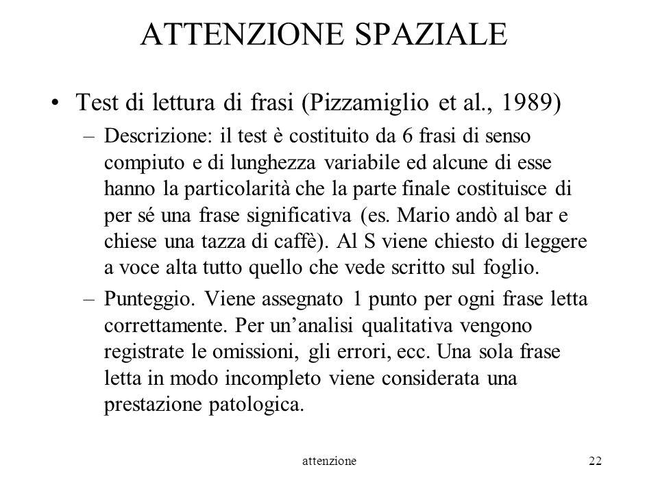 attenzione22 ATTENZIONE SPAZIALE Test di lettura di frasi (Pizzamiglio et al., 1989) –Descrizione: il test è costituito da 6 frasi di senso compiuto e