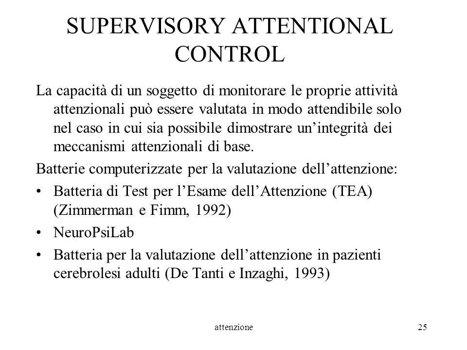 attenzione25 SUPERVISORY ATTENTIONAL CONTROL La capacità di un soggetto di monitorare le proprie attività attenzionali può essere valutata in modo att