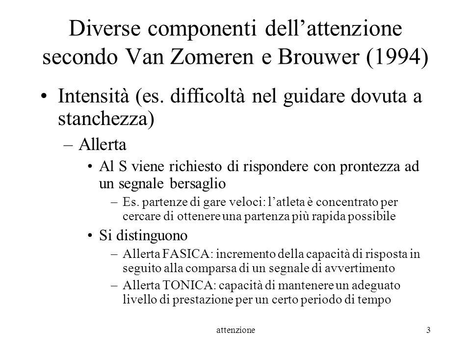 attenzione3 Diverse componenti dellattenzione secondo Van Zomeren e Brouwer (1994) Intensità (es. difficoltà nel guidare dovuta a stanchezza) –Allerta