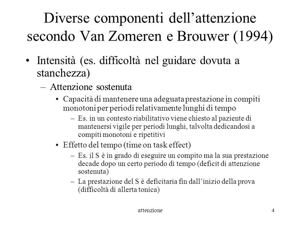 attenzione4 Diverse componenti dellattenzione secondo Van Zomeren e Brouwer (1994) Intensità (es. difficoltà nel guidare dovuta a stanchezza) –Attenzi