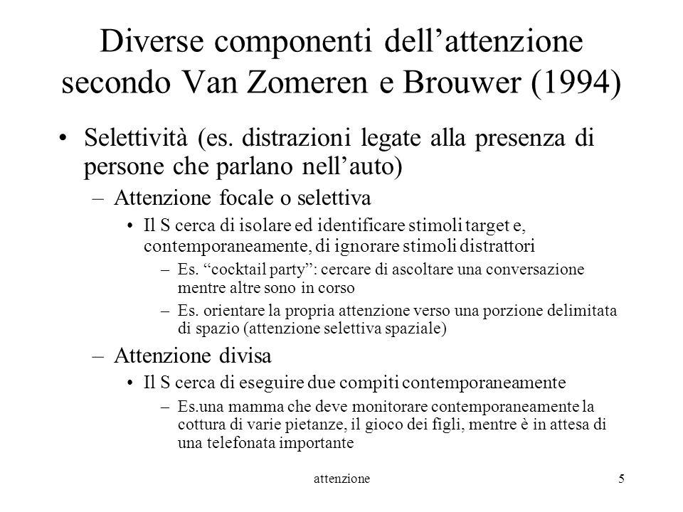 attenzione5 Diverse componenti dellattenzione secondo Van Zomeren e Brouwer (1994) Selettività (es. distrazioni legate alla presenza di persone che pa