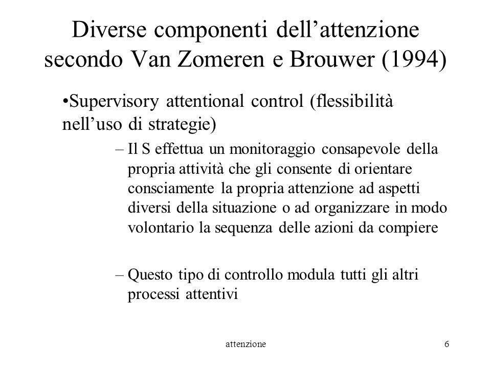 attenzione17 ATTENZIONE SPAZIALE Test di barrage di linee (Albert, 1973) Test di cancellazione di lettere (Diller et al., 1974) Test delle campanelle (Gauthier et al., 1989) Test di bisezione di linee Test dellillusione dellArea di Wundt-Jastrow (Massironi et al., 1988, 1994) Test di lettura di frasi (Pizzamiglio et al., 1989) Indented Paragraph Reading Test (Caplan, 1987) Behavioural Inattention Test (BIT) (Wilson et al., 1987) Scale semistrutturate per la valutazione funzionale del neglect (Zoccolotti et al., 1992)