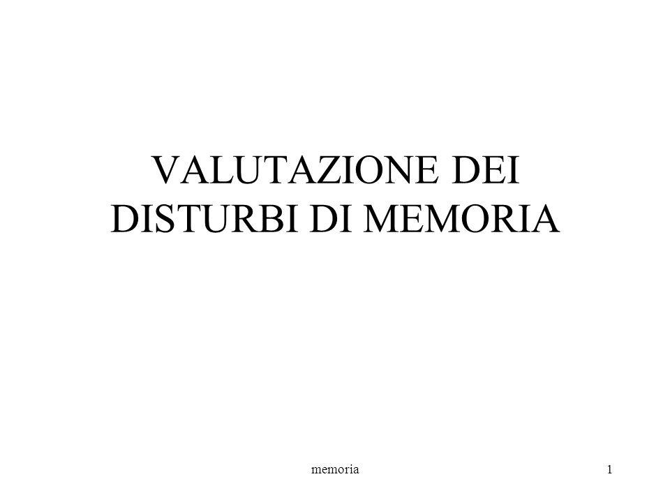 memoria22 MLT Un questionario italiano per lo studio della memoria retrograda (Costa et al., 1989) Misura la MLT episodica retrograda Descrizione: –Esplora periodi di tempo dal 1984-85 al 1966-67.