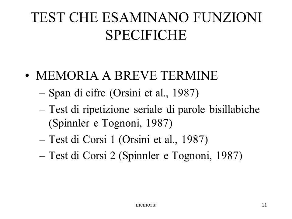 memoria11 TEST CHE ESAMINANO FUNZIONI SPECIFICHE MEMORIA A BREVE TERMINE –Span di cifre (Orsini et al., 1987) –Test di ripetizione seriale di parole b