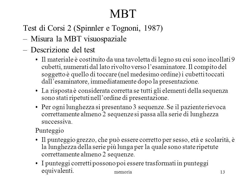 memoria13 MBT Test di Corsi 2 (Spinnler e Tognoni, 1987) –Misura la MBT visuospaziale –Descrizione del test Il materiale è costituito da una tavoletta