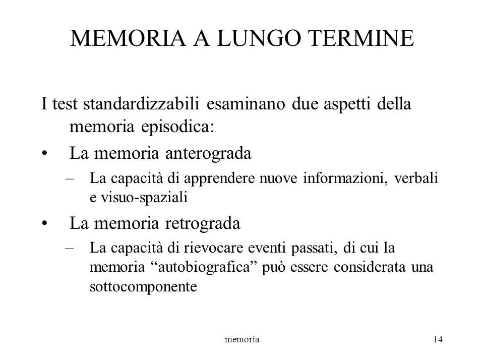 memoria14 MEMORIA A LUNGO TERMINE I test standardizzabili esaminano due aspetti della memoria episodica: La memoria anterograda –La capacità di appren