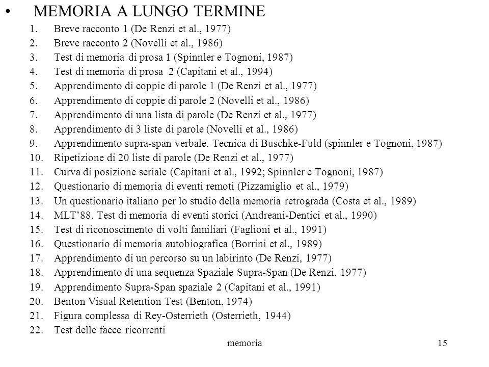 memoria15 MEMORIA A LUNGO TERMINE 1.Breve racconto 1 (De Renzi et al., 1977) 2.Breve racconto 2 (Novelli et al., 1986) 3.Test di memoria di prosa 1 (S