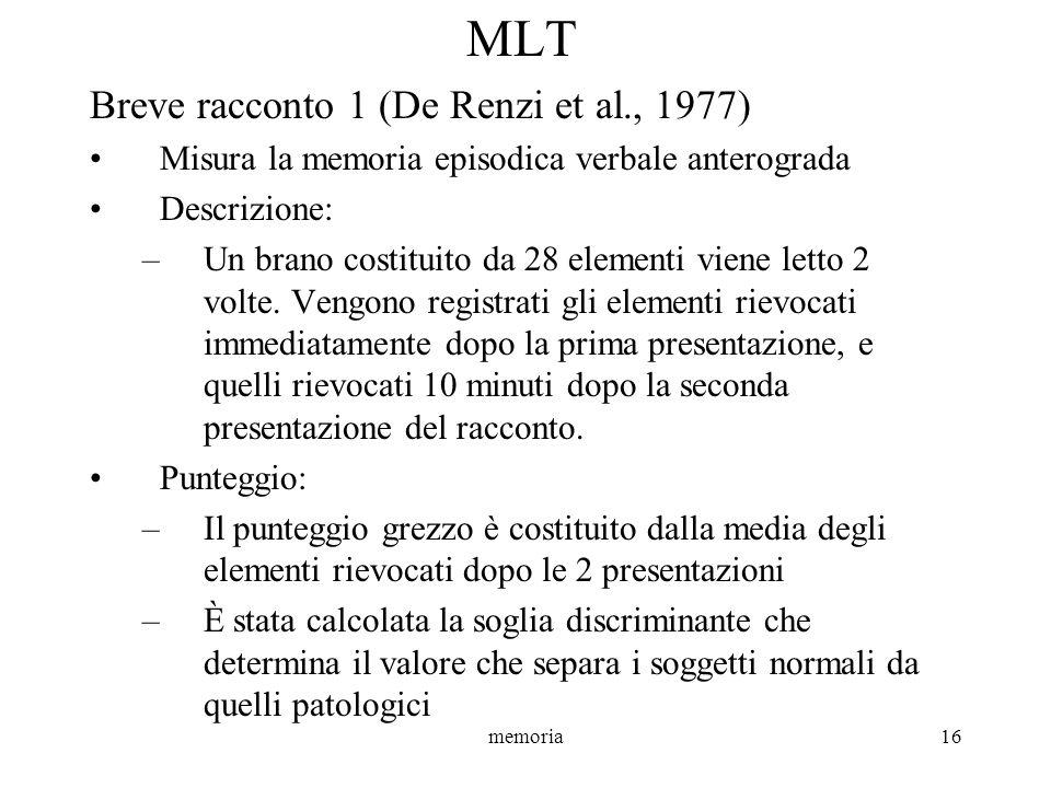 memoria16 MLT Breve racconto 1 (De Renzi et al., 1977) Misura la memoria episodica verbale anterograda Descrizione: –Un brano costituito da 28 element
