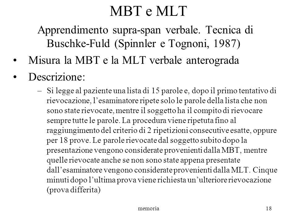 memoria18 MBT e MLT Apprendimento supra-span verbale. Tecnica di Buschke-Fuld (Spinnler e Tognoni, 1987) Misura la MBT e la MLT verbale anterograda De