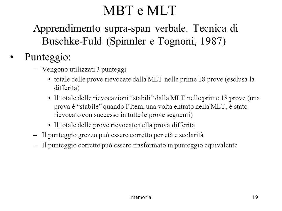 memoria19 MBT e MLT Apprendimento supra-span verbale. Tecnica di Buschke-Fuld (Spinnler e Tognoni, 1987) Punteggio: –Vengono utilizzati 3 punteggi tot