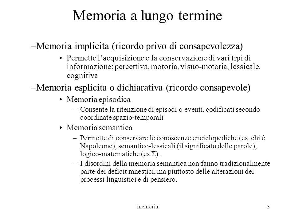memoria14 MEMORIA A LUNGO TERMINE I test standardizzabili esaminano due aspetti della memoria episodica: La memoria anterograda –La capacità di apprendere nuove informazioni, verbali e visuo-spaziali La memoria retrograda –La capacità di rievocare eventi passati, di cui la memoria autobiografica può essere considerata una sottocomponente