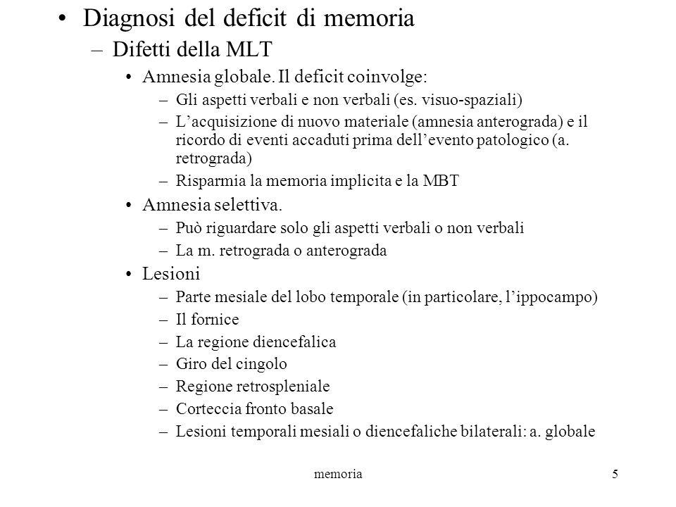 memoria5 Diagnosi del deficit di memoria –Difetti della MLT Amnesia globale. Il deficit coinvolge: –Gli aspetti verbali e non verbali (es. visuo-spazi