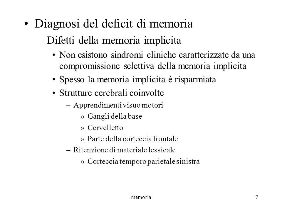 memoria28 MBT e MLT Figura complessa di Rey-Osterrieth (Bortolani et al., 1993) Misura la MBT e la MLT visuospaziale Descrizione: –Il paziente deve copiare una figura geometrica complessa priva di significato e, dopo 10 minuti, riprodurla a memoria Punteggio: –La valutazione può considerare 3 aspetti Il tempo impiegato per completare la prova Il tipo di riproduzione (modo di procedere durante la prova) Laccuratezza nella riproduzione delle varie parti della figura (somiglianza con loriginale, posizione spaziale) –I punteggi sono stati corretti per età, scolarità e sesso –Sono stati calcolati i limiti di tolleranza non parametrici interni ed esterni