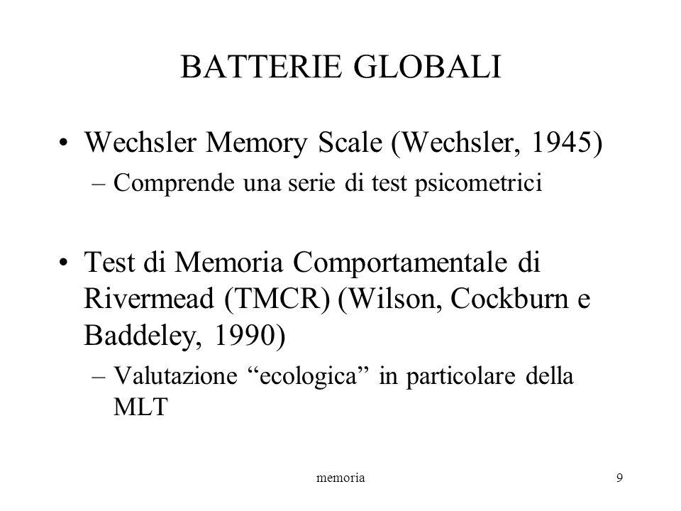 memoria9 BATTERIE GLOBALI Wechsler Memory Scale (Wechsler, 1945) –Comprende una serie di test psicometrici Test di Memoria Comportamentale di Rivermea