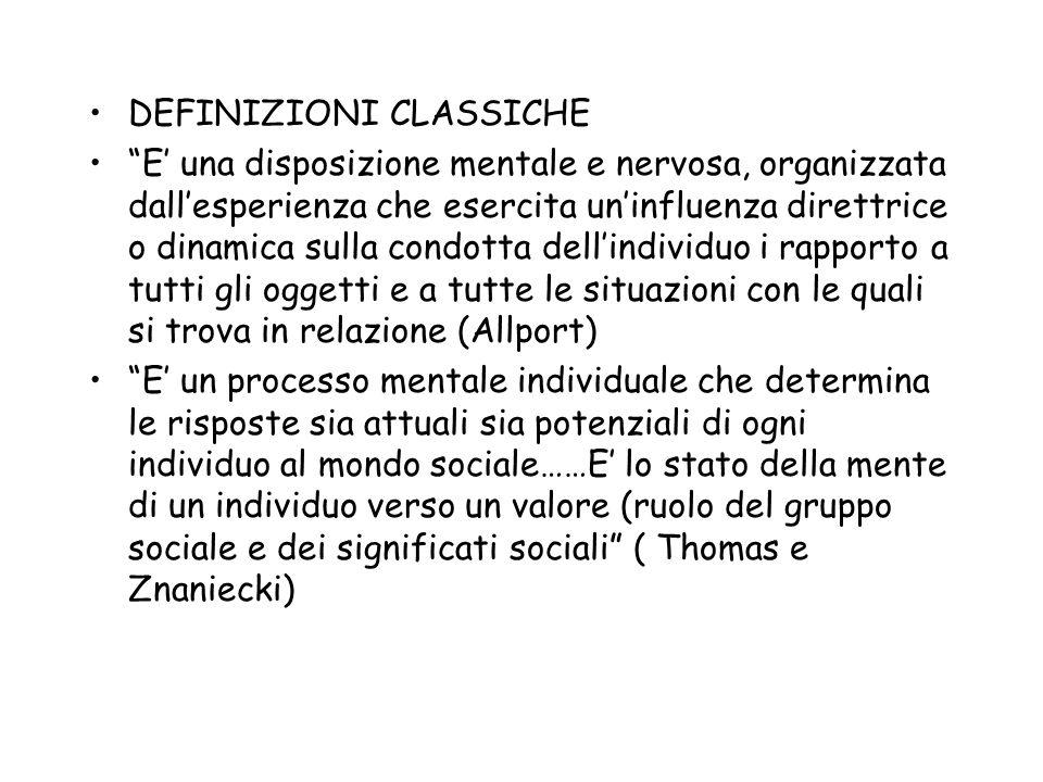 DEFINIZIONI CLASSICHE E una disposizione mentale e nervosa, organizzata dallesperienza che esercita uninfluenza direttrice o dinamica sulla condotta d