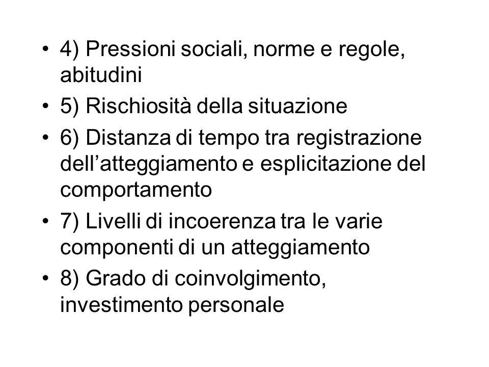 4) Pressioni sociali, norme e regole, abitudini 5) Rischiosità della situazione 6) Distanza di tempo tra registrazione dellatteggiamento e esplicitazi