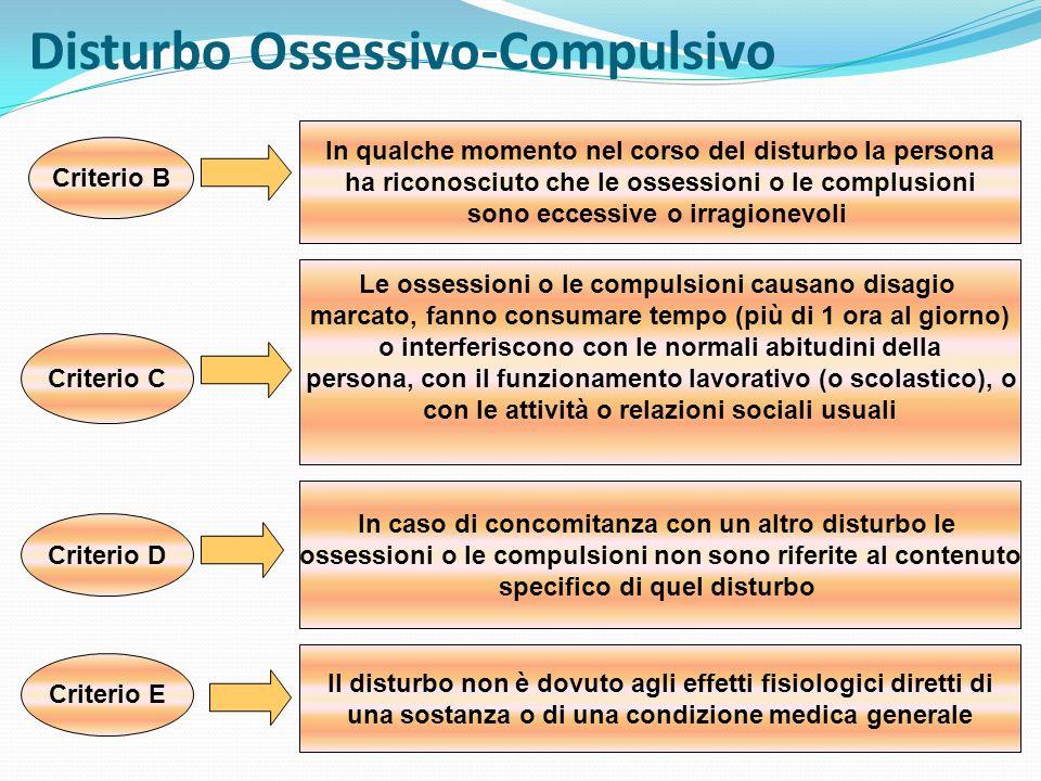 Disturbo Ossessivo-Compulsivo Criterio B In qualche momento nel corso del disturbo la persona ha riconosciuto che le ossessioni o le complusioni sono