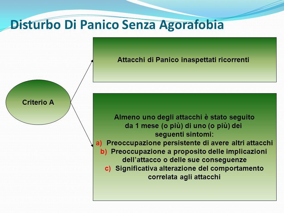 Disturbo Di Panico Senza Agorafobia Criterio B Assenza di Agorafobia Criterio C Gli Attacchi di Panico non sono dovuti agli effetti fisiologici diretti di una sostanza o di una condizione medica generale Criterio D Gli Attacchi di Panico non sono meglio giustificati da un altro disturbo mentale