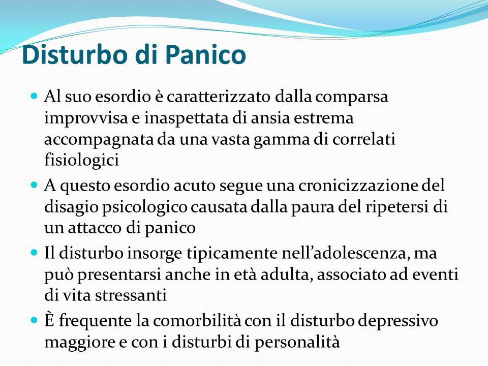Disturbo di Panico Al suo esordio è caratterizzato dalla comparsa improvvisa e inaspettata di ansia estrema accompagnata da una vasta gamma di correla