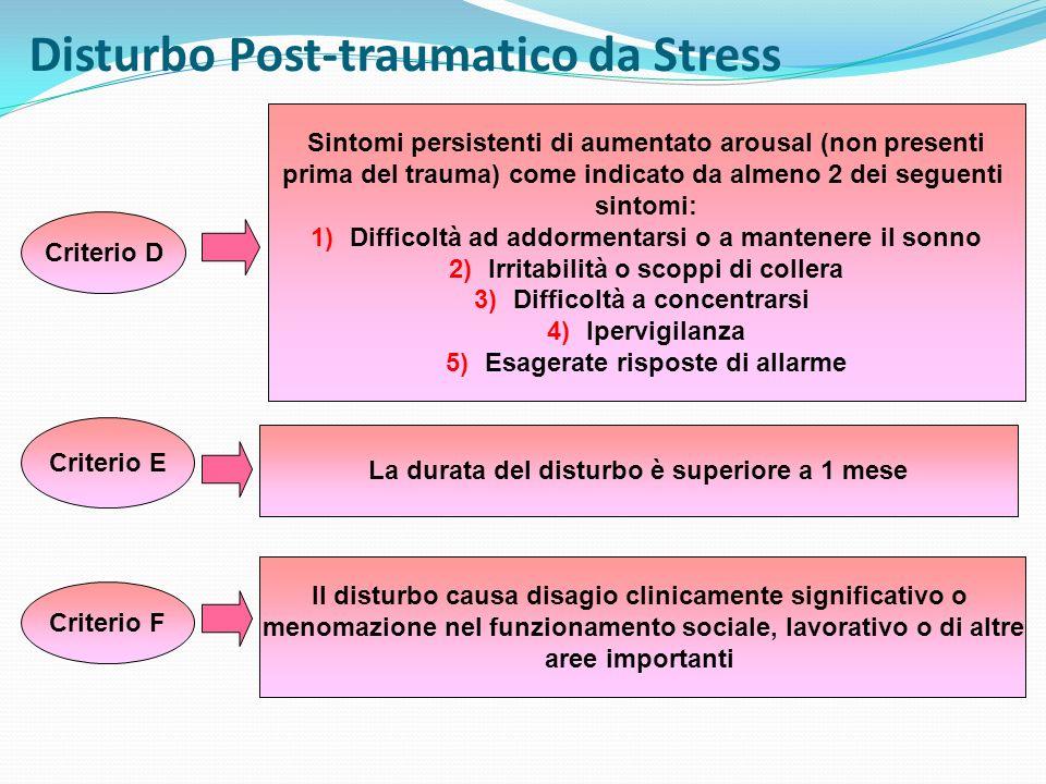 DISTURBO POST-TRAUMATICO DA STRESS ACUTOCRONICO AD ESORDIO RITARDATO La durata dei sintomi è inferiore a 3 mesi La durata dei sintomi è di 3 mesi o più i sintomi compaiono dopo almeno 6 mesi dallevento stressante
