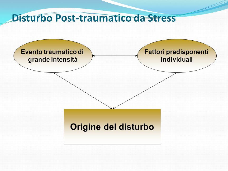 Disturbo Post-traumatico da Stress Al crescere della gravità dellevento, del tempo di esposizione, e dellintensità della reazione psicologica immediata aumenta la probabilità di comparsa del disturbo EVENTO TRAUMATICO