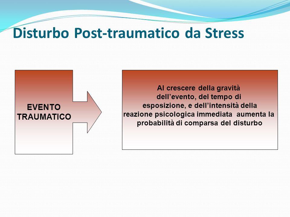 Disturbo Post-traumatico da Stress Al crescere della gravità dellevento, del tempo di esposizione, e dellintensità della reazione psicologica immediat