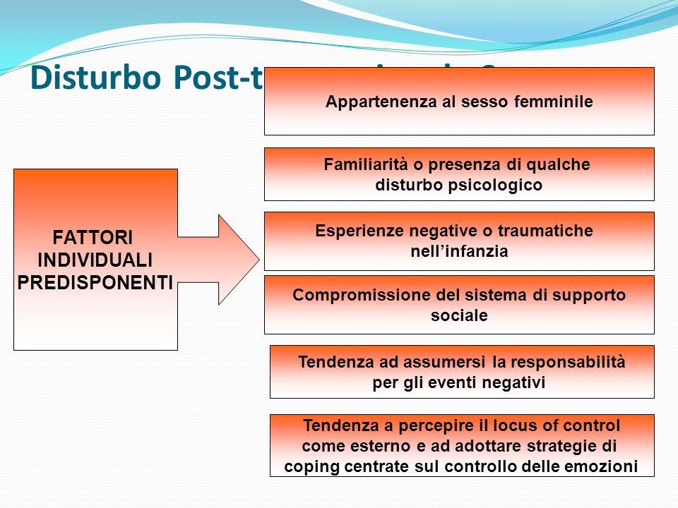 Disturbo Post-traumatico da Stress FATTORI INDIVIDUALI PREDISPONENTI Appartenenza al sesso femminile Familiarità o presenza di qualche disturbo psicol