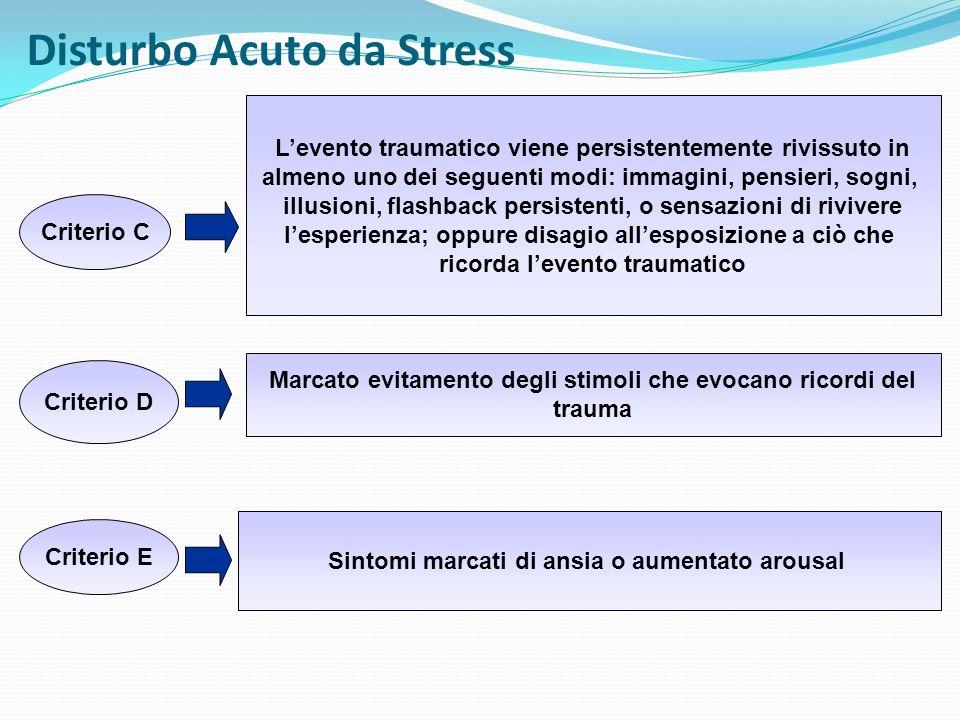 Disturbo Acuto da Stress Criterio C Levento traumatico viene persistentemente rivissuto in almeno uno dei seguenti modi: immagini, pensieri, sogni, il