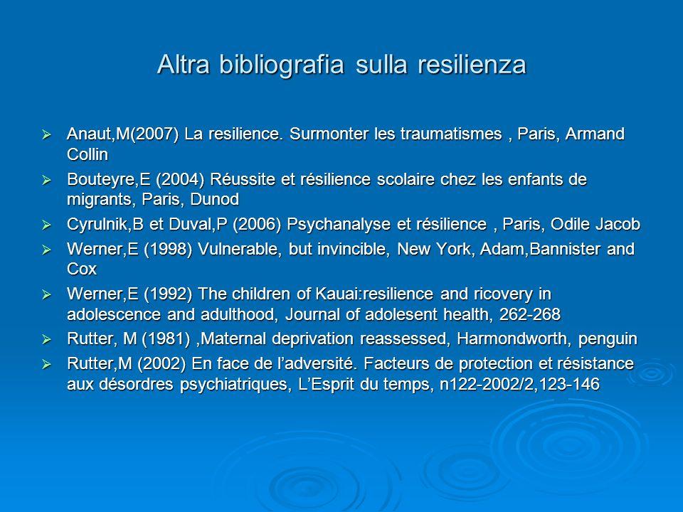 Altra bibliografia sulla resilienza Anaut,M(2007) La resilience.